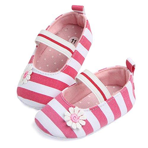 Pour 0-18 mois Bébé filles ,Transer ® Les filles mignonnes douces de semelle anti-dérapantes de fleur de raient des sandales Rose