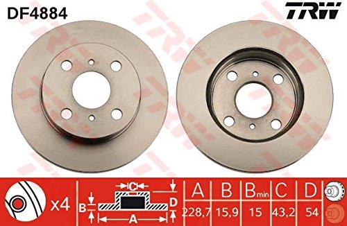 TRW DF4884 Bremsscheibe Scheibenbremsen, Bremsscheiben (x2)