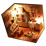 Gazechimp Set de DIY Casa de Muñeca en Miniatura de Madera con Cubierta Muebles Juguete Rega...