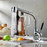 Badezimmer Küche Chrom-Finish einzigen Handgriff Messing herausziehen Küchenarmatur