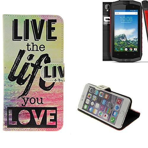 K-S-Trade® Für -Crosscall Trekker-M1 Core- Schutz Hülle 360° Wallet Case ''live Life Love'' Schutzhülle Handy Tasche Handyhülle Etui Smartphone Flip Cover Standfunktion (1x)