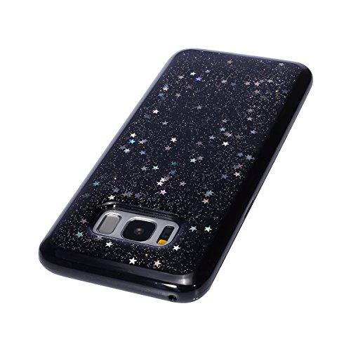 Custodia Samsung Galaxy S8 Plus,Cover Samsung Galaxy S8 Plus,Custodia Cover per Samsung Galaxy S8 Plus,KunyFond Glitter Cristallo Lucido Strass Diamante Glitter Trasparente Caso con Strass Samsung Gal nero/stella