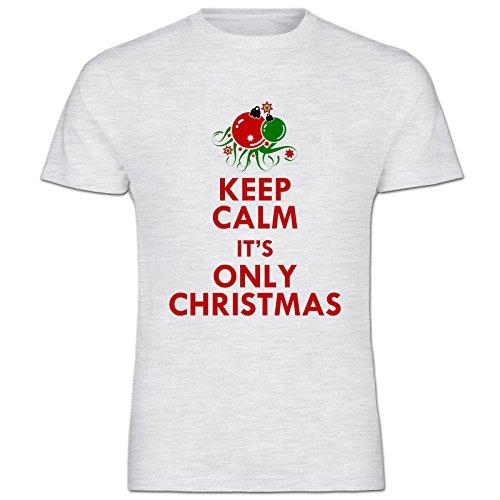 Keep Calm It's Only Christmas in cotone da UOMO T-Shirt maniche corte vari colori disponibili - misure S M L XL 2XL XXL 3XL XXXL