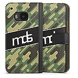 DeinDesign HTC One M9 Tasche Leder Flip Case Hülle Meddes Camouflage Logo