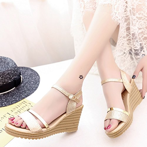 Lgk & fa estate sandali muffin fondo pendenza con spessore con tacco sandali da donna stile semplice slittamento scarpe estate Golden