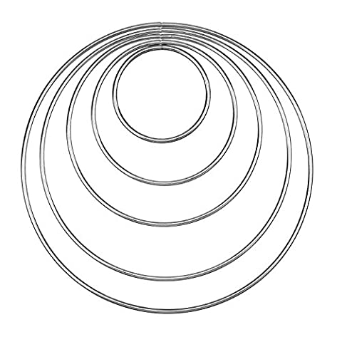 eBoot Set of 5 Pieces Assorted Metal Hoops Metal Rings for Dream Catcher, 2 Inch, 3 Inch, 4 Inch, 5 Inch, 6 Inch