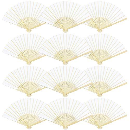 BUZIFU Ventaglio Pieghevole Bambu e Carta 12 Pezzi Ventaglio Sposa Bianco, Ventaglio Matrimonio, Ventaglio a Mano per Chiesa Battesimo, Giardino Festa, Fai da Te Decorazione