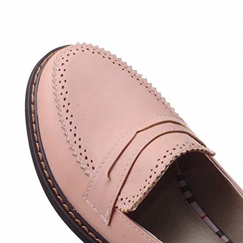 Mee Shoes Damen modern bequem süß dicker Absatz Niedrig runder toe mit Spitze Geschlossen Pumps Freizeitschuhe Pink