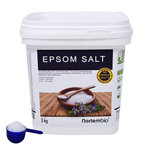 Sel d'Epsom NortemBio 3 Kg, Source concentrée de Magnésium, Sel 100% Naturel. Bain et Soins Personnels.