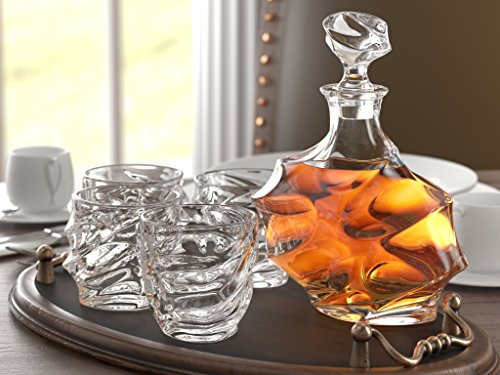 5-piece Everest whiskey decanter. Set di 4 bicchieri e Scotch decanter con tappo 765,4 gram/800 ml - unico. Elegante. Lavabile in lavastoviglie. Bourbon decanter liquore di vetro. ultra-clarity vetreria di Ashcroft.