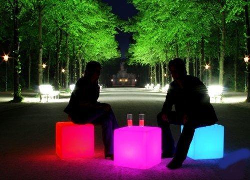 La Vida en Led - Cubo LED luminoso, sedile, pouf, tavolino ausiliare con luce, dimensioni: 40 cm