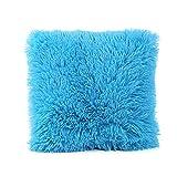 Covermason Plush Waist Throw Cushion Cover Sofa Pillowcase Home Decorative Pillow Cover 16x16 Inch (Sky Blue)