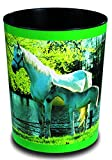 Läufer 26658 Motiv-Papierkorb Pferd und Fohlen am See, 13 Liter Mülleimer, perfekt für das Kinderzimmer, rund, stabiler Kunststoff