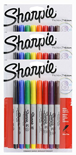 Sharpie Permanent Marker Ultra Fine Point Tip [37600PP] 8 Count (Pack of 3) 24 Markers Total by - 3-pack Fine Sharpie Point,