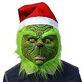 1Buy Creative Christmas Geek Máscara de Cabeza Completa Monstruo de Látex de Grinch de Monster Verde, Carnaval Divertido Halloween Navidad Cosplay Máscara con Sombrero de Navidad