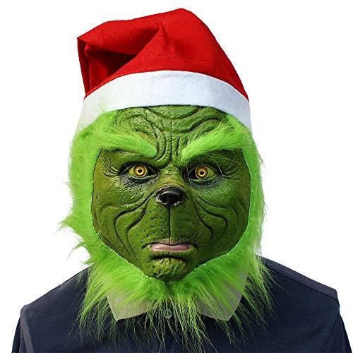1Buy Kreative Weihnachtsgeek volle Kopfmaske grünes Monster Grinch Latex Kopfbedeckung, Lustige Karneval Halloween Weihnachten Cosplay Maske mit Weihnachtsmütze, Erwachsenen Kostüm Ornament