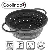 Coolinato Sieb Faltbar aus Silikon | Platzsparend, leicht zu Reinigen und Spülmaschinenfest | Verwendet als Nudelsieb, Abtropfsieb, Dampfgar Einsatz oder Küchensieb | Grau 24cm