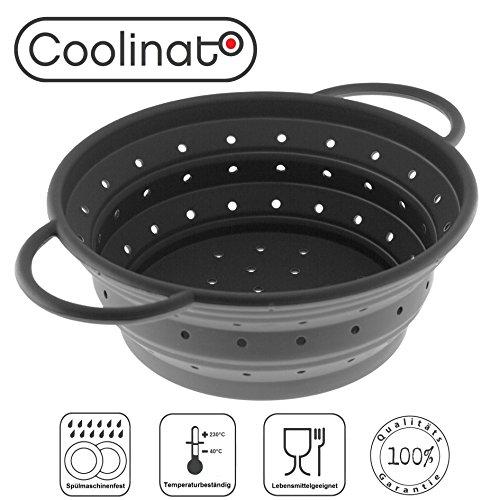 Coolinato Sieb faltbar aus Silikon | Platzsparend, leicht zu reinigen und Spülmaschinen-geeignet | Verwendet als Nudel-Sieb, Abtropfsieb, Dampfgar-Einsatz oder Küchen-Sieb | Grau 24cm