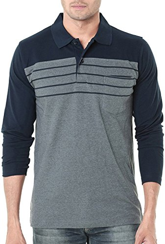 Scatchite Men's Cotton Polo Neck Full Sleeves Casual T-Shirt (Navy Blue:Grey Melange,...