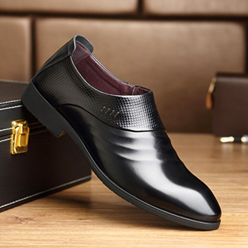 Feidaeu Mocassin Printemps Derby Bout Pointu Business Cuir PU Mode Semple Loisir Mariage Travail Délicat Souliers Hommes Chaussures Loafers Noir