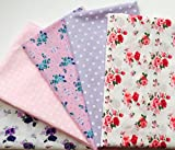 X 5 m de color rosa y morado Floral tela de lunares smartphonez incluye diseños florales, rosas, lunares - Ideal de puntos para proyectos mtong, electromiografía, cuartos de grasa y manualidades - simplemente MGA serpentear por CR8 Comercio