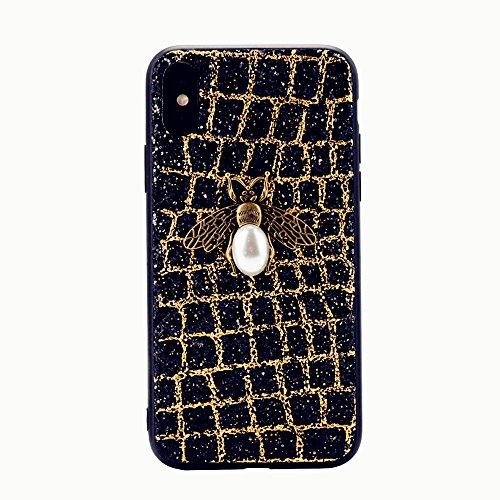 iPhone x Handyhülle,Dewanxin 2018 Creative Design 3D Bee Glitzern TPU + PC Umweltschutz Telefon-Kasten Protective Case Cover (iPhone x Handyhülle, Golden) (Iphone 6 Plus Case Louis Vuitton)