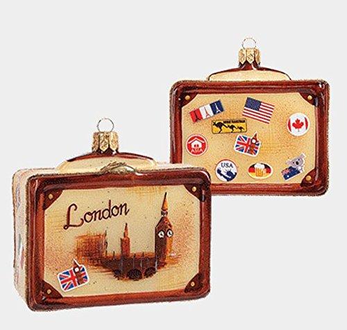 Pinnacle Peak Trading Company Londra stile vintage viaggio valigia in vetro decorazione di Natale ornamento One New