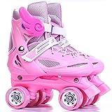 Kinder-Rollschuhe, Rollschuhe Für Damen Und Herren Einstellbare Größe PVC-Rad,Pink,31to34yards