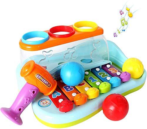 GoStock Musikspielzeug Baby Spielzeug xylophon Musikinstrumente für Baby Klavier Keyboard und Hammer für Kinder, Jungen und Mädchen Spielzeug ab 1 2 3 Jahre