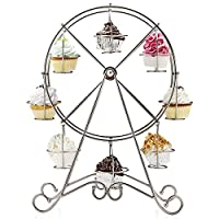 Vintage Cupcake Holder Set - Ferris Wheel Mini Cake Stand - Fairy Dessert Display for Christmas, Wedding, Birthday, Party - Stainless Steel - 8 Cup