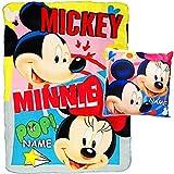 Unbekannt Set: Kuscheldecke / Fleecedecke + Kissen - Disney - Mickey & Minnie Mouse - inkl. Name - Kuschelkissen Schmusekissen - Schmusedecke - Sitzkissen Mikrofaser - ..