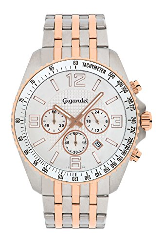 Gigandet Fast Track Men's Analogue Wrist Watch Quartz Chronograph Silver Rosegold G12-008