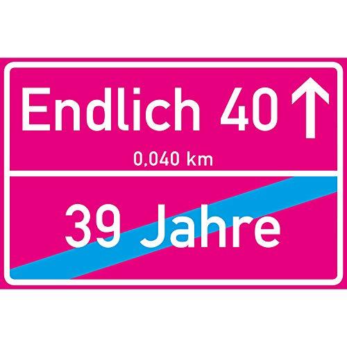 vanva Endlich 40 Jahre Ortsschild 40. Geburtstag Dekoration Schild Freund Freundin Geschenkidee Sie Geburtstagsparty Er Geschenke 40ter Partydeko Fotobox Requisite Pink