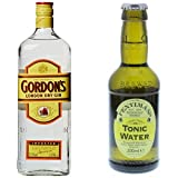 Gordon's London Dry Gin (1 x 1 l) mit Fentimans Tonic Water, 12er Pack (12 x 200 ml)