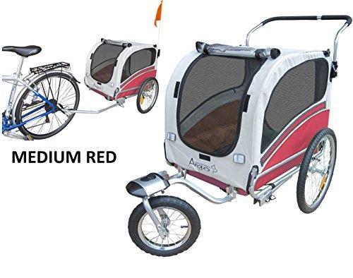 POLIRONESHOP ARGO rimorchio e passeggino per trasporto cani cane animali carrello carrellino trasportino rimorchi da bici bicicletta jogger carrozzina dog portacani portacane porta (ROSSO, MEDIUM)