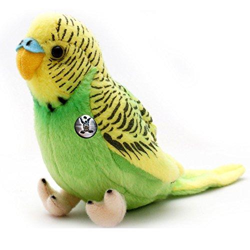 Wellensittich KIWI grün 19 cm Wildfarben Sittich Vogel Plüschtier von Kuscheltiere.biz