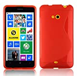 Cadorabo Hülle für Nokia Lumia 625 Hülle in INFERNO Rot Handyhülle aus flexiblem TPU Silikon im S-Line Design Silikonhülle Schutzhülle Soft Back Cover Case Bumper Inferno-Rot