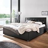 Polsterbett schwarz 180x200 Kunst-Lederbett Bett Doppelbett Mainz-2