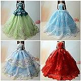 5pcs Poupée jouet dentelle Satin longue robe chiffon costumes accessoires pour Barbie Doll (5 robes)