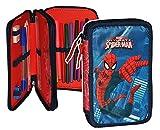 Unbekannt 25 tlg. gefüllte Federmappe Spiderman - Kinder Schiefermappe Kindergarten Spider Spinne Spider-Man - Federtasche - Doppeldecker / Doppelstockig - doppelt