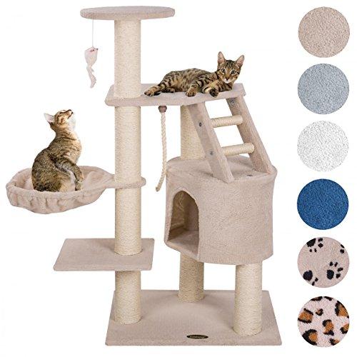 ® Kratzbaum für Katzen 120 cm hoch mit Extra dicken Säulen komplett mit Sisal ca. 9,0 cm Höhle Liegemulde Spielseil Spielmaus Farbe auswählbar
