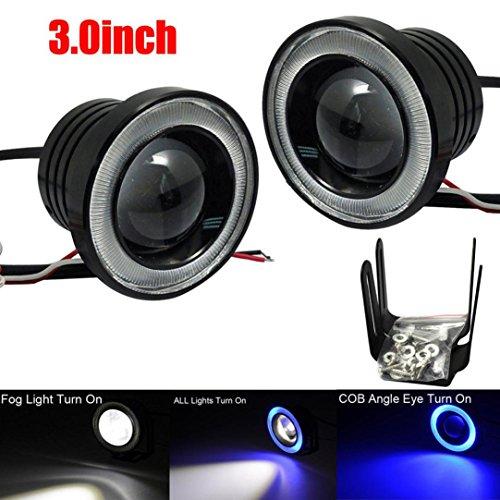 Für Halo-lichter Autos (Auto Nebel Licht, ourmall Auto Nebel Licht 7,6cm blau Halo Ring COB LED projectordrl fahren Leuchtmittel 3200(blau Licht))