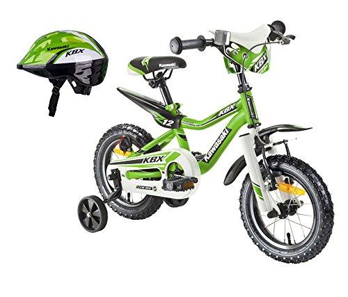 Kawasaki Kinderfahrrad Cross Bike Juniso 12 Zoll KBX und Fahrradhelm Shikuro grün Gr. 48-50