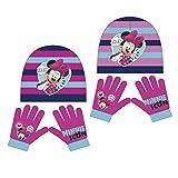 Minnie Maus 2tlg. Winterset AUSWAHL Kindermütze Kinderschal Kinderhandschuhe (Pink-Blau)