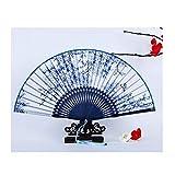Faltfächer WHQ Handgekurbelter chinesischer blauem und weißem Porzellan, handgefertigte orientalische Dekoration von Vintage Lady Bamboo für den täglichen Gebrauch QD (Color : B)