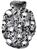 Loveternal Felpa Donna Skull Hoodie 3D Stampa Cranio Felpa con Cappuccio Tasca con Coulisse Pullover per Donna Uomo M