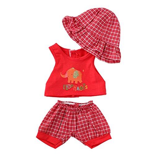 Blesiya Top Rojo Impresión de Elefantes + Pantalones Cortos a Cuadros y...
