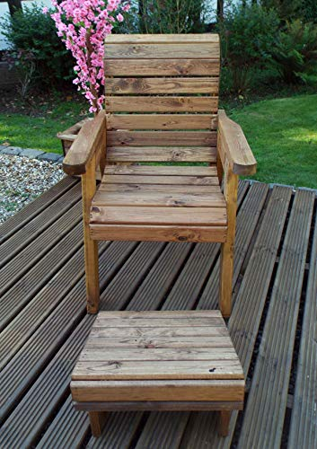 Charles Taylor Trading Hand Made Chunky Rustic Wooden Garden Chair Furniture With Footstool