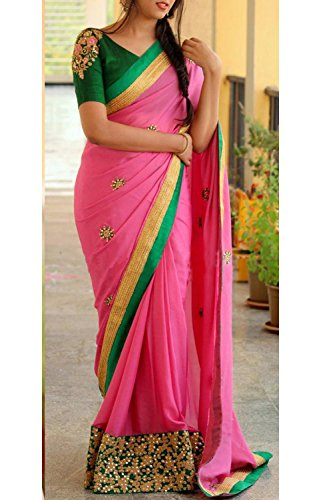 Jhtex Fashion Women\'s Clothing Pink Georgette Fancy Party Wear Saree With Blouse & Diwali Special Saree (MBC_Pink597)