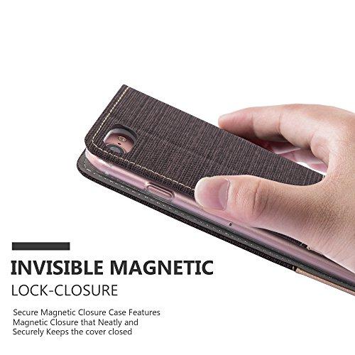 Cadorabo - Etui Housse pour Apple iPhone 7 - Coque Case Cover Bumper Portefeuille en Design Tissue-Similicuir avec Stand Horizontale, Fentes pour Cartes et Fermeture Magnétique Invisible en BLEU-FONCÉ ANTHRACITE-OR